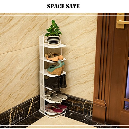 GWF Kleine schmale Schuhablage Metall schwarz Aufbewahrungsstand für Stiefel Balkon Eingang Ecke Eingang stapelbar Regal PlatzsParender Schuhschrank (Farbe : Weiß, größe : 3 Tier)