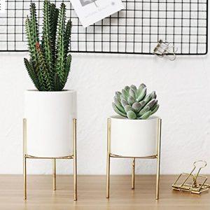 HOMYY Blumentopfständer aus Eisen, Frisch, Landschafts-Regal, Behälter für den Innenbereich, Schreibtisch, Garten, für Sukkulenten, Kräuter, Kaktuspflanzen, weiß, Large