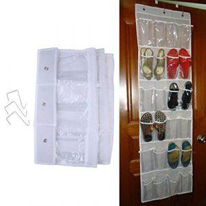NUOMI über der Tür Schuh Organizer 24Taschen Grau Haken Verstellbare Aufbewahrung Halterung