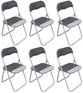 Klappstuhl – gepolstert – kühles Grau/Weiß – 6 Stück