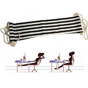Qiorange Fußablage Hängesessel für Büro Schreibtisch Hängematte (Schwarz weiß Streifen)