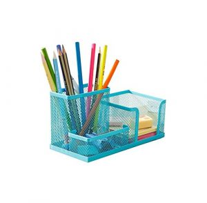 mackur Multifunktionale Mesh Schreibtisch Organizer 3Fächer Metall Desktop Aufbewahrungsbox Langlebig Bleistifthalter, Behälter, für Schule Büro Stationery 1Plüschtier, metall, blau, 20 x 10 x 10 cm