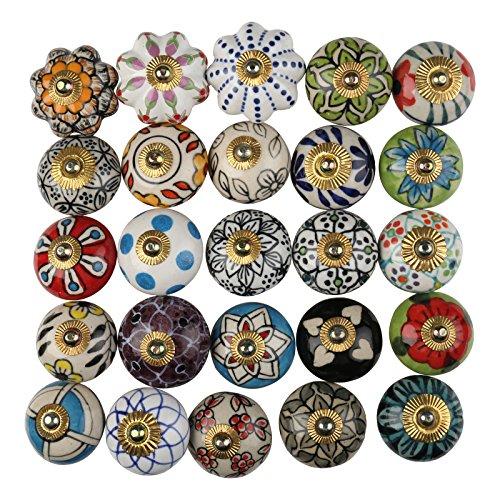 Keramik-Türknauf-Set, mehrfarbig, handgefertigt, für Schubladen, Türen, Kleiderschrank, Kommode, Blumen, Schubladen, Schränke, 25 Stück