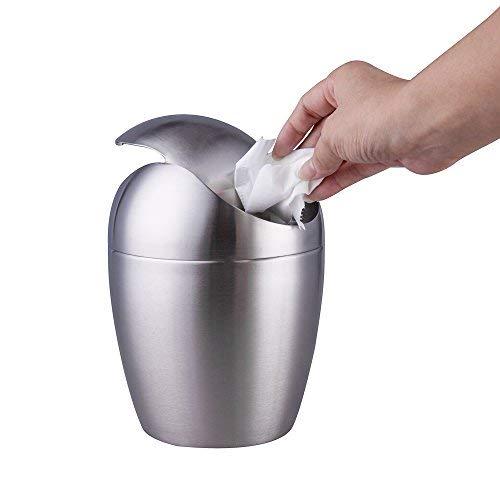 IMEEA Mini Trash Can Edelstahl mit Swing zinntheken für Tisch Schreibtisch Trash Müll Remasuri, Metall, Silber, Oval-Shaped