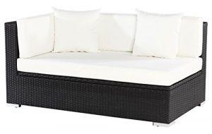 OUTFLEXX 2-Sitzer Ecksofa aus hochwertigem Polyrattan in schwarz mit Kissenbox-Funktion, 145 x 85 x 70 cm, Armlehne rechts, inkl. Kissen, Lounge-Sofa, Couch, wetterfest, rostfrei, 100% Handarbeit