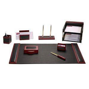 Dacasso Schreibtisch-Set, Rosenholz und schwarz Leder, 10-TLG.