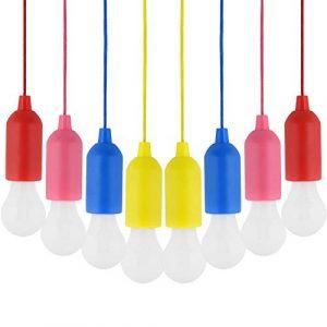 Zeltlampe,LED Campinglampe,8 STÜCKE Verschiedene Farben Batteriebetriebene LED Pull-Cord Dekorative Hängende Licht Für Garten Party Kleiderschrank Schrank BBQ Wandern Angeln