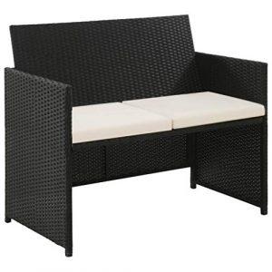 tidyard Lounge Sofa 2-Sitzer Couch aus Poly Rattan, Wetterfesten und Wasserdichten, für Garten, Balkon, Terrasse, 100x56x85cm, Schwarz