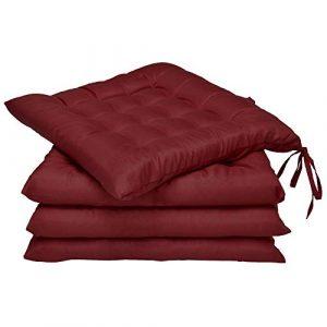 Beautissu 4er Set Lea Stuhlkissen 40 x 40 cm Sitzkissen für Stühle mit 5cm Dicke Polsterung in Dunkelrot und div Farben erhältlich