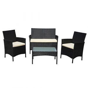 SVITA Gartenmöbel Poly Rattan Sitzgruppe Essgruppe Set Sofa-Garnitur Lounge Braun, Grau oder Schwarz (Grau)