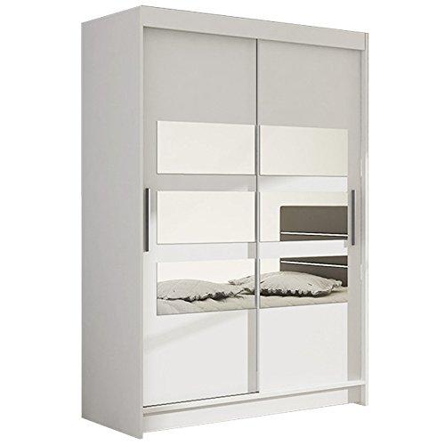 Ye Perfect Choice Kleiderschrank mit Spiegeln Vegas V Moderner Schrank Schiebetürenschrank Schwebetürenschrank Schlafzimmerschrank Garderobe Elegante Schiebetür Garderobeschrank 120cm (Weiß)