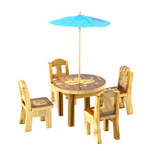 rycnet 6 Stück/Set Miniatur-Holz-Schreibtischstuhl, Regenschirm, Puppenhaus, Garten, Heimdekoration, zufällige Farbe und Muster