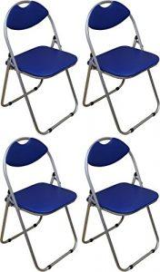 Klappstuhl – gepolstert – Blau – 4 Stück