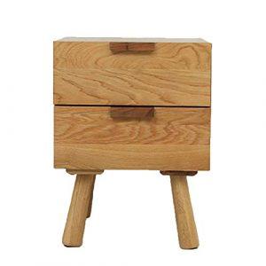 Dlili Nightstands Schlafzimmer Tisch Massivholz Wohnmöbel Bett-Tisch-Beistelltisch Zwei Schubladen Schlaf Schrank 40X40x42cm