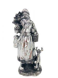 ecosoul Weihnachtsmann Silber dick zum Stellen Deko Weihnachten Figur Fensterbank Kommode Tisch