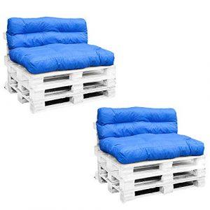 Palettenkissen-Set | Sitzkissen 120x80x15cm | Rückenkissen 120x40x10/20cm | Sitzpolster-Set für Europaletten | Paletten-Sofa Wasser-Schmutzabweisend | Palettenauflage mit Wave-Steppung (2, Blau)