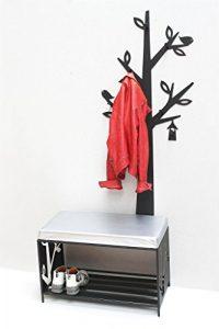DanDiBo Schuhregal mit Sitzfläche Wandgarderobe Set Metall Schwarz Flurgarderoben Modern Schuhbank Sitzbank
