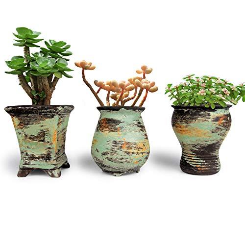 T4U Sukkulenten Topf Keramik 3er-Set, Bunter Ölgemälde-Stil-Pflanzgefäß für Blumen Kräuter Dekoration für Garten Büro Schreibtisch Geschenk zum Geburtstag Hochzeit Weihnachten