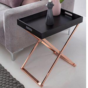 Beistelltisch TV-Tray zusammenklappbar 48 x 61 x 34 cm schwarz / kupfer MDF – Design Wohnzimmertisch mit Tablett Kaffeetisch modern – Tabletttisch Holz