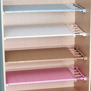uctop Store Verlegt 38–55cm Multifunktions-Roll-Trenner Regal Rack für Kleiderschrank Schrank Küche Badezimmer Bücherregal ausziehbar verstellbar Aufbewahrung Regal für Schuhkartons Farbe zufällige