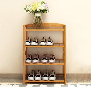 Shoe rack HUO Natürlicher Bambusmehrschichtiger Schuhregal, Speicherorganisator, einfacher dauerhafter Blumen-Stand (größe : 50 * 25 * 66)