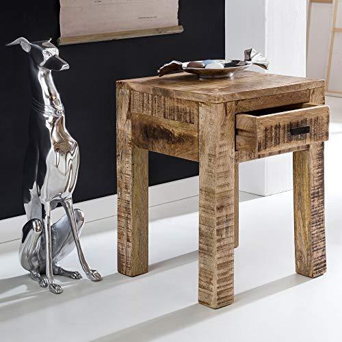 FineBuy Nachttisch RUSTI 40 x 40 x 55 cm Mango Massiv-Holz Natur mit Schublade   Beistelltisch im Landhaus-Stil Ablagetisch Klein   Design Anstelltisch Hellbraun   Kleiner Couchtisch Wohnzimmer-Tisch