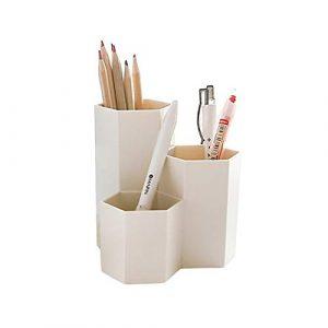 JoyFan Koreanischer Stiftehalter aus Kunststoff, sechseckig, einfache Schreibtisch-Aufbewahrungsbox für Studenten und Bürobedarf, Plastik, beige, Einheitsgröße