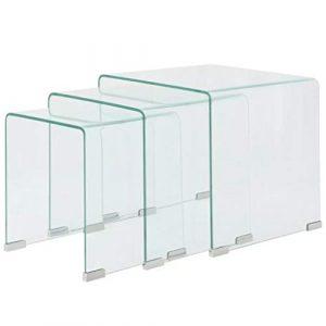binzhoueushopping Tischset, 3-teilig, Maße des großen Tischs, 42 x 42 x 41,5 cm (L x B x H) aus Hartglas, transparent, Couchtisch Design