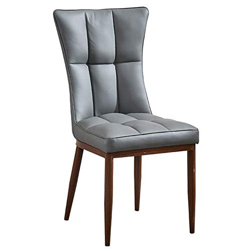 ZTTD Esszimmerstühle Esstisch Stuhl Küchenstühle-Nordic Kreative Weiche Fall Haushalt Rückenlehne Schreibtisch Stuhl Restaurant Metall Hohe Belastbarkeit Schwamm (Farbe : Gray, größe : Black Leg)