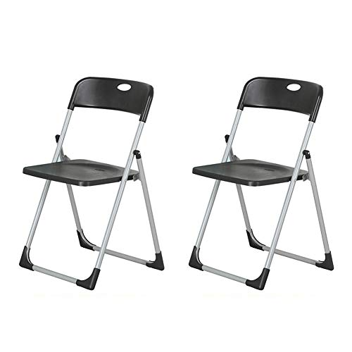 Klappstuhl Dall Kunststoff-Sitz Bürokonferenz Stuhl Stahlrahmen Schreibtischstühle Bequeme Rückenlehnenstühle (Farbe : Schwarz, größe : 2 Pieces)