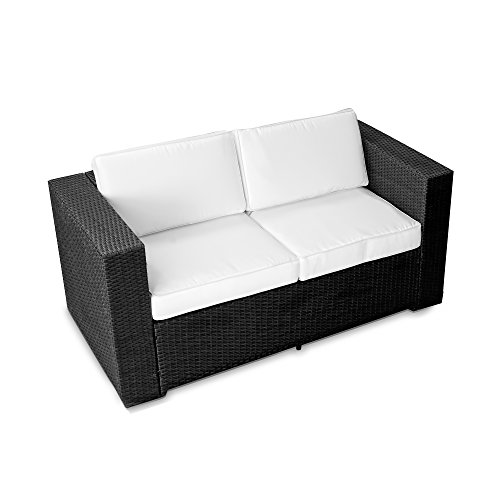 (2er) Polyrattan Lounge Möbel Sofa schwarz - Gartenmöbel (2er) Polyrattan Lounge Sofa, (2er) Polyrattan Lounge Couch, Polyrattan Bank - durch andere Polyrattan Lounge Gartenmöbel Elemente erweiterbar