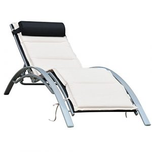 Outsunny Sonnenliege Gartenliege Gartenstuhl Relaxsessel Liegestuhl Alu verstellbar, weiße Liegematte (Schwarz)