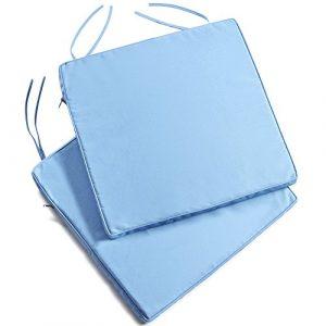 VonHaus Sofa-Kissen, Blau/Denim, wasserabweisend, abnehmbarer und waschbarer Bezug, für den Außenbereich und den Garten, 2 Stück