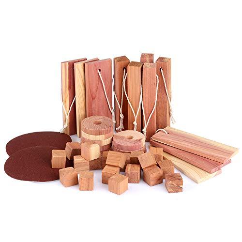 Natürlicher Bio Mottenschutz aus Zedernholz, effektive Mottenabwehr für Kleiderschrank, Gemischte Formen Natürliches Insektenschutzset aus Zedernmotte [39 Stück & Schleifpapier]