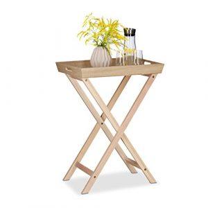 Relaxdays Tabletttisch Holz, Klapptisch abnehmbar, Beistelltisch Couch, HxBxT: 77,5×56,5×38,5 cm, natur