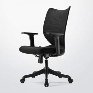 ADHKCF Mesh-atmungsaktiver Bürostuhl, der die anhebende Taillenunterstützung dreht, trifft den ergonomischen Raum-Schlafzimmer-Personal-Stuhl (Farbe : Schwarz)