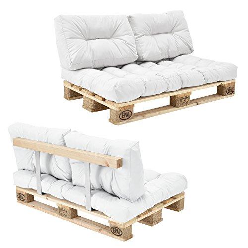 [en.casa] Palettensofa - 2-Sitzer mit Kissen - (weiß) Komplettes Set inkl. Rückenlehne