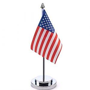 SevenMy amerikanische Tischflagge aus Metall, mit Ständer, hochwertig, US-amerikanische Tischflagge, 14 x 21 cm