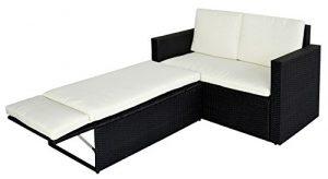 SVITA Poly Rattan Lounge Gartenset Sofa Garnitur Polyrattan Gartenmöbel (Schwarz)