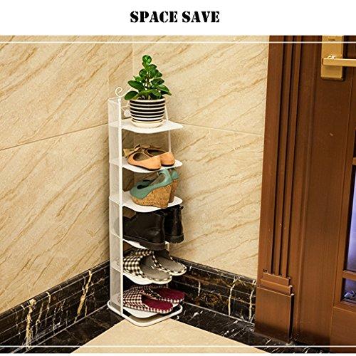 GWF Kleine schmale Schuhablage Metall schwarz Aufbewahrungsstand für Stiefel Balkon Eingang Ecke Eingang stapelbar Regal PlatzsParender Schuhschrank (Farbe : Weiß, größe : 6 Tier)