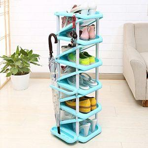 Hyun Times Schuhständer Multi – Layer Einfache Montage Hause Schlafsaal Schlafzimmer Raum Raum Multifunktionale Kunststoff Schuhablagen Schuhschrank (Farbe : Blau)