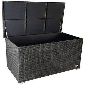 RS Trade 'Venezia' 950l Polyrattan Garten Kissenbox wetterfest (regnet Nicht rein) 146 x 83 x 80 cm, Auflagenbox mit verstärktem Deckel und Gasdruckfedern, auch als Tischplatte geeignet, Silber