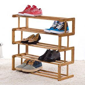 GWF 4 Tier Stehen für Stiefel Schuhe Bambus einfache Lagerregal leichte kompakte Regal Hall Enterway Tür PlatzsParender Schuhschrank (größe : 5 Tier)