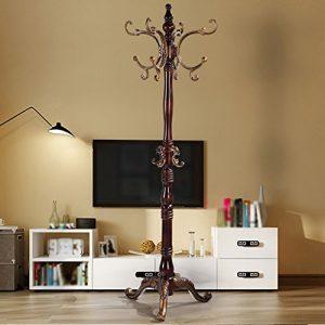LXLA- Massivholz-Kleiderständer-Innenboden-Schlafzimmer-Aufhänger-Moderne Versammlungs-Flur-Ausgangskleiderständer (Farbe : Antik Farbe)