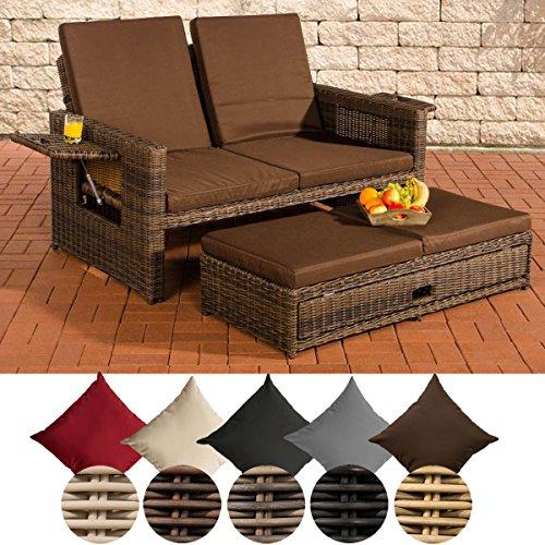 CLP Polyrattan 2er- Loungesofa Ancona I Garten-Sofa mit ausziehbarem Fußteil und Verstellbarer Rückenlehne Rattan Farbe braun-meliert, Bezugfarbe: Terrabraun