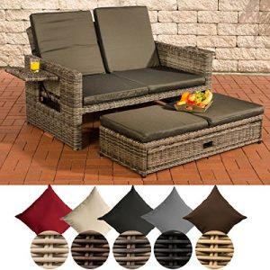 CLP Polyrattan 2er- Loungesofa Ancona I Garten-Sofa mit ausziehbarem Fußteil und Verstellbarer Rückenlehne Rattan Farbe grau-meliert, Bezugfarbe: Anthrazit