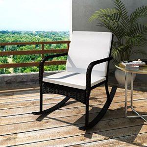 Tidyard Gartenstuhl Schaukelstuhl Poly Rattan Schaukelsessel Schwingstuhl Relaxsessel Schwingsessel für Wohnzimmer Terrasse oder Garten