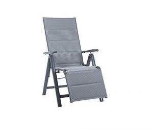 Meinposten Klappstuhl Gartenstuhl Sessel ALU Fußteil grau anthrazit Klappsessel Relax 130KG