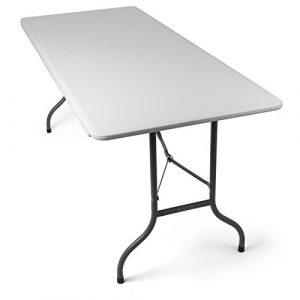 Park Alley Gartentisch Klapptisch, gut geeignet als Partytisch oder Buffettisch für Garten, Terrasse und Balkon – Tisch aus Kunststoff ist zusammenklappbar und inkl. Tragegriff, weiß