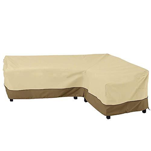 FF Gartentischabdeckung Möbelabdeckung Schwere Patio L Form Sofa Set Cover, Links/rechts lang, groß, beige, Garten wasserdichte Möbel Couch Cover (größe : Right armrest Sofa Cover)